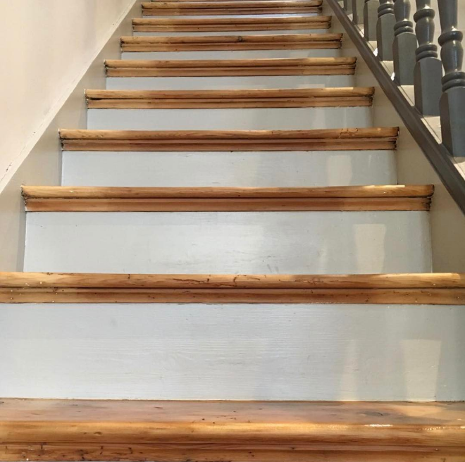Sanded and painted stairs in natural matt finish varnish and Farrow and Ball colours