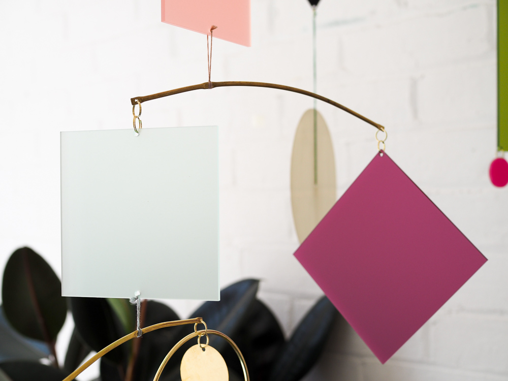 geometric acrylic hanging mobile