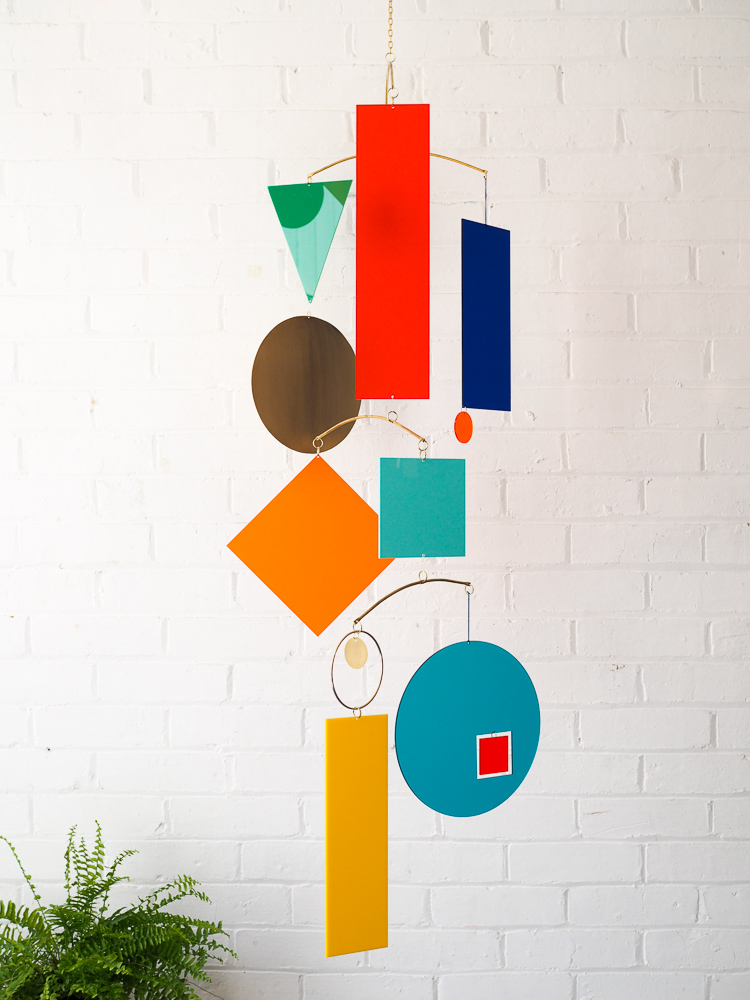 colourful geometric shapes hanging mobile