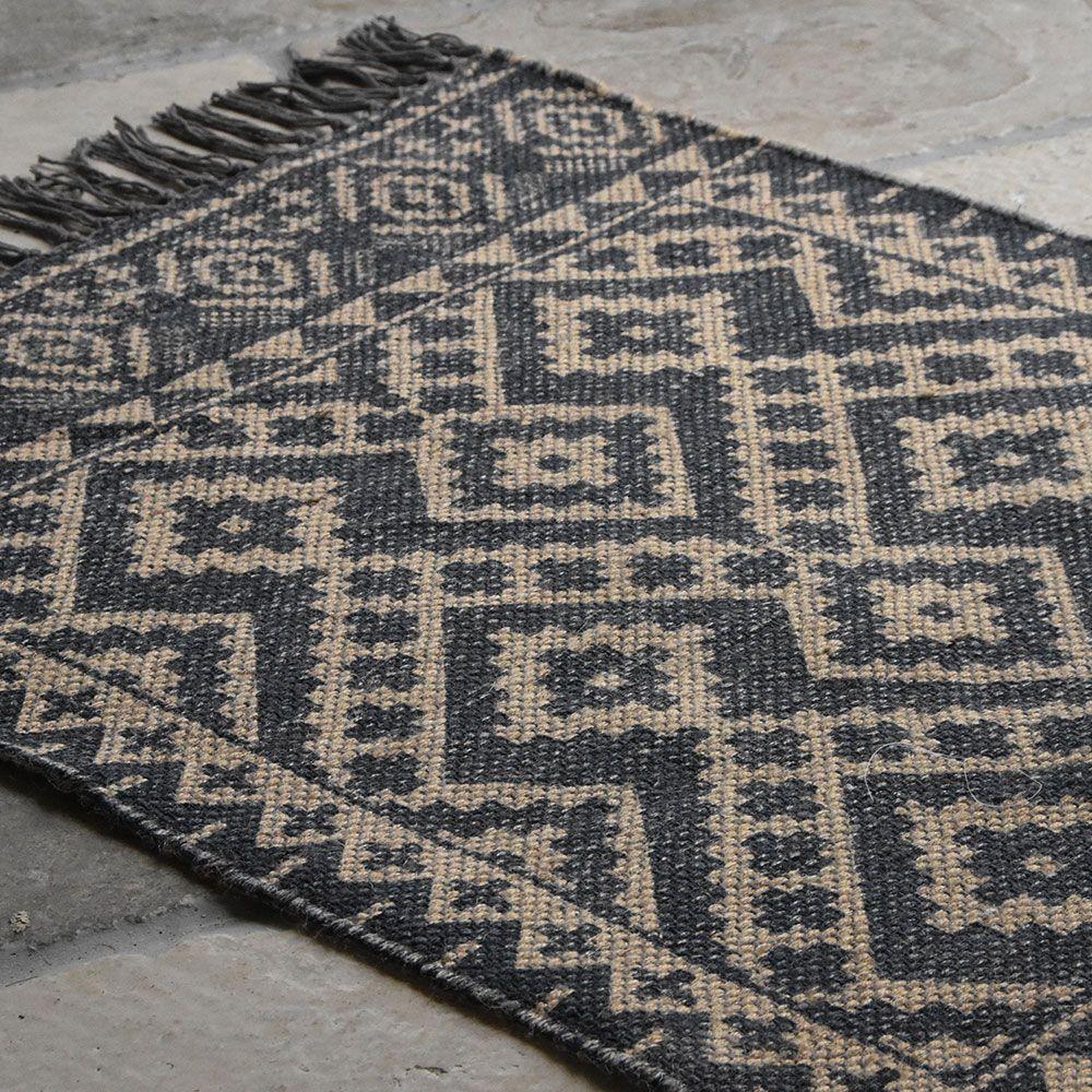 Grey jute print rug