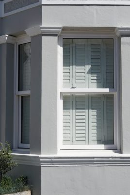 Closed plantation shutters from road